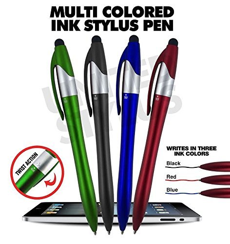 (3 Color ink Ball Pens and Stylus for Universal Touch screen Devices, Each pen writes in 3-Colors Ink(Black,Red,Blue) Pen Barrel colors,Red,Green, Blue, Orange,Lt. Blue and Black, By SyPen (12 Pack))