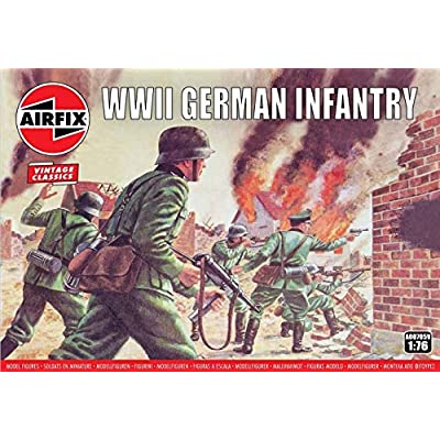 Airfix Vintage Classics WWII German Infantry Soldiers 1:72 Military Figures Plastic Model Kit A00705V: Toys & Games