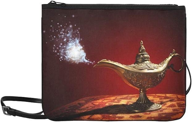 AGIRL Historia de la lámpara mágica Genio de Aladdin que aparece Bolso de embrague delgado de nylon de alto grado personalizado Bolso cruzado Bolso bandolera: Amazon.es: Zapatos y complementos