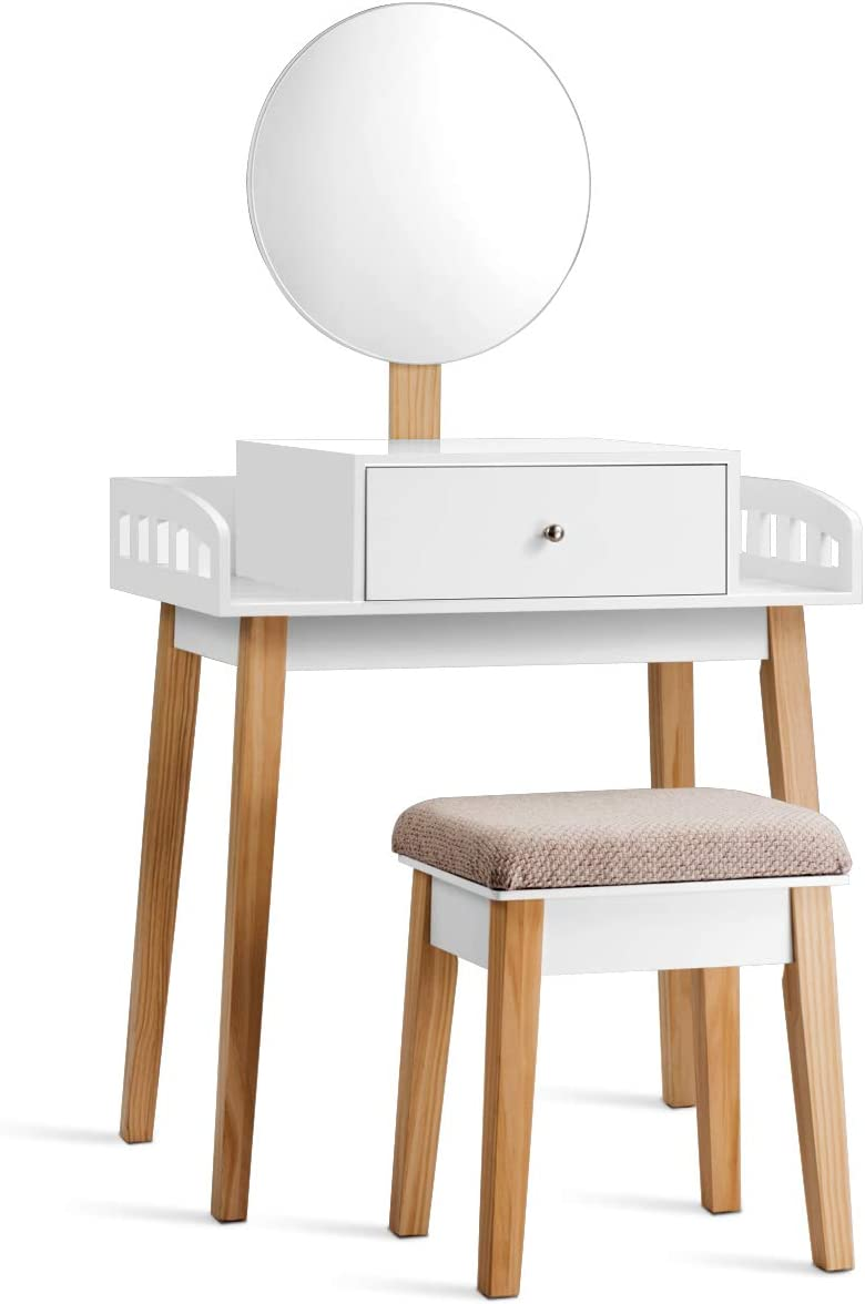 GOFLAME Vanity Dressing Table Set with Cushioned Stool Height-Adjustable Large Mirror, Makeup Dressing Table Desk with Large Drawer for Home Office Bedroom Contemporary Vanity Table Desk, White