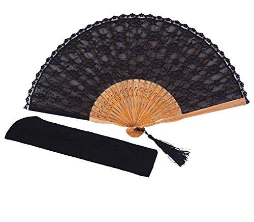 Meifan Womens Multi Color Handmade Cotton Lace Folding Hand Fan (Black)