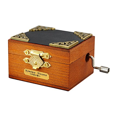 YouTang Mini Size Retro Wooden 18-Note Hand-Crank Musical Box,Musical Toys,Tune:Amazing Grace