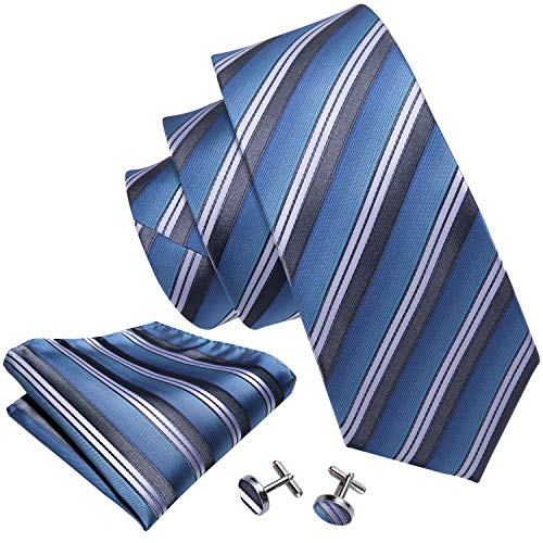 (Barry.Wang Stripe Ties Necktie Set Pocket Square Cufflinks Woven Silk Blue)