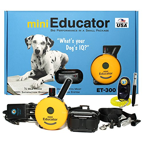 Bundle of 2 items - E-Collar - ET-300 - 1/2 Mile Remote Waterproof Trainer Mini Educator - Static, Vibration and Sound Stimulation collar with PetsTEK Dog Training Clicker and Dog Whistle Training Kit