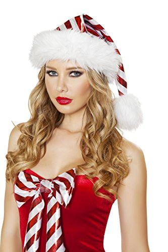 Candy Raver Costume (Adult Women's Candy Cane Striped Christmas Party Fur Trimmed Hat Accessory)