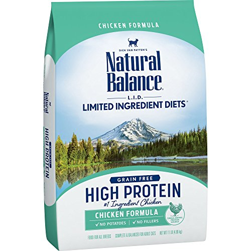 - Natural Balance L.I.D. Limited Ingredient Diets High Protein Dry Cat Food For Adult Cats, Chicken Formula, 11-Pound