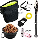 6 in 1 Puppy and Dog Training Essential Kit - Dog Treat Training Pouch, Bark Control Whistle, House Training Doorbells, Pet Clicker, Dog Bowl, and Poop Bag Ideal Gift for First Time Pet Owners
