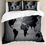 Ambesonne Dark Grey Duvet Cover Set Queen Size by, Black Colored World Map on Concrete Wall Image Urban Structure Grungy Rough Look, Decorative 3 Piece Bedding Set with 2 Pillow Shams, Grey Black