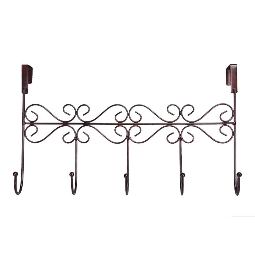 3 PCS Creative Iron 5 Hooks Door Clothes Rack Door Hanger (Bronze)