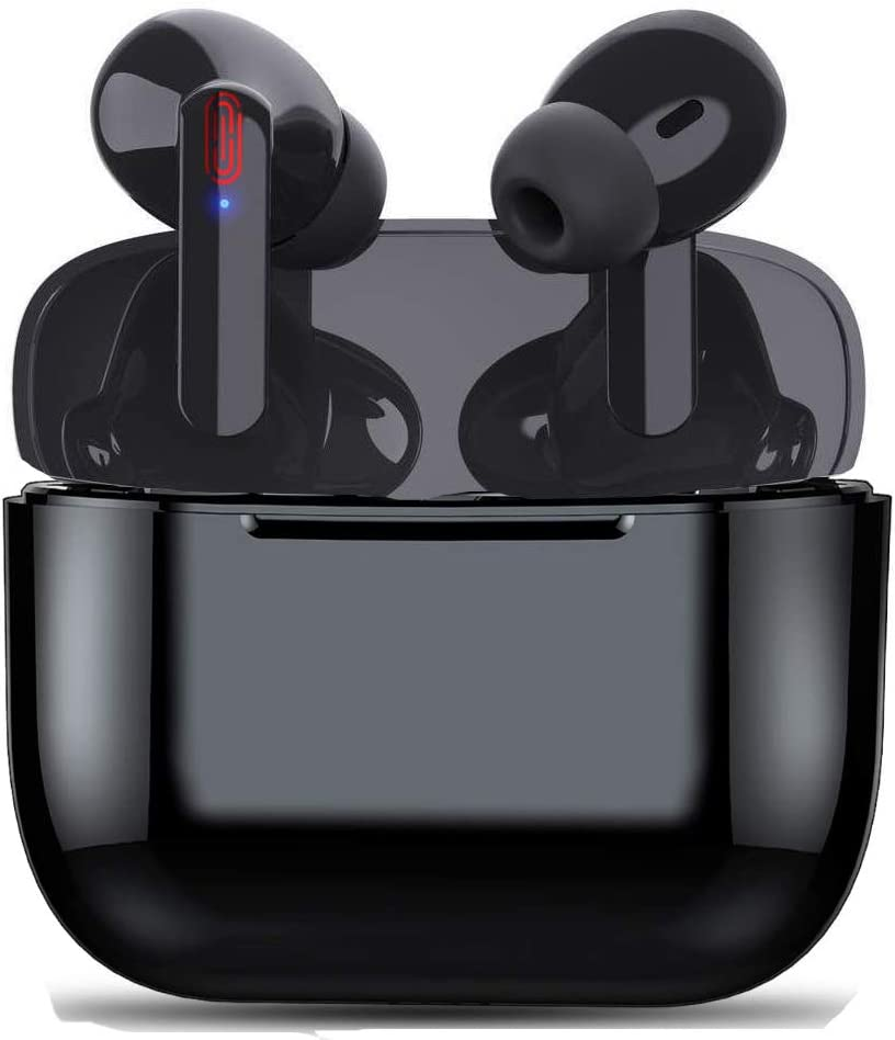 Wireless Earbuds Bluetooth 5.0 Earphones IntelligentNoise-Canceling Headset with Charging Box,Pop-ups Auto Pairing Built-in Microphone Headset for iPhone,Samsung,Android,Apple/AirPods Pro (Black)