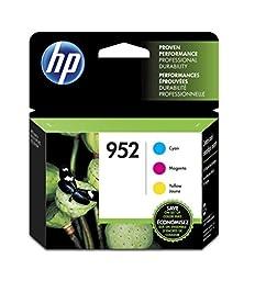 HP 952 Cyan, Magenta & Yellow Original Ink Cartridges, 3 pack (N9K27AN)