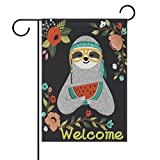 Cheap ALAZA Summer Welcome Sloth Watermelon House Flag Garden Banner 28″ x 40″ Double Sided, Tropical Flowers Hibiscus Tree Garden Flags for Anniversary Yard Outdoor Decoration