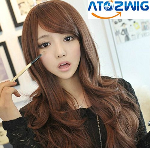 [ATOZWIG@Fashion New Sexy Womens Girls Fashion Style Wavy Curly Long Hair Human Full Wigs Colors Black And] (Cheap Color Wigs)