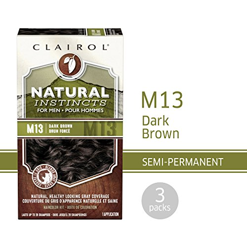 Clairol Natural Instincts Semi-Permanent Hair Color Kit For Men, 3 Pack, M13 Dark Brown Color, Ammonia Free, Long Lasting for 28 Shampoos by Clairol (Image #7)
