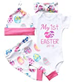 gllive Baby Girls Clothes Long Sleeve Miracles Romper Outfit Pants Set +Hat+Headband (6-12 Months, Easter)