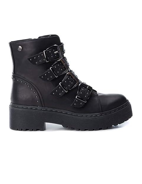 Botín XTI Mujer Negro Plataforma Hebillas 48395: Amazon.es: Zapatos y complementos