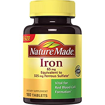Nature Made Iron 65 mg. (from Ferrous Sulfate) Tablets 180 Ct