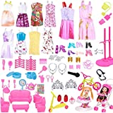 "Keysse Lot 123 Items = 15 Pcs Doll Clothes Set Fit for (11. 0""-11. 8"") Dolls Include 15 Packs Party Dress Outfits and 108 Pcs Different Doll Accessories and Furniture for Little Girls Gift"