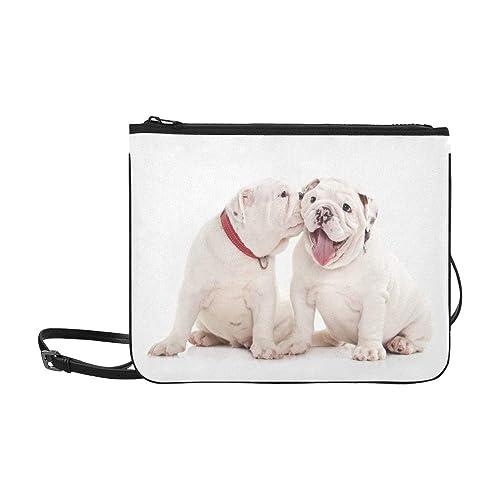 Dos cachorros de bulldog inglés en blanco Bolso de embrague delgado de nylon de alta calidad personalizado Bolso cruzado Bolsa bandolera: Amazon.es: Zapatos ...