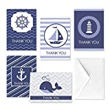 Paper Frenzy Coastal Nautical Thank You Note Cards and White Envelopes - 25 pack