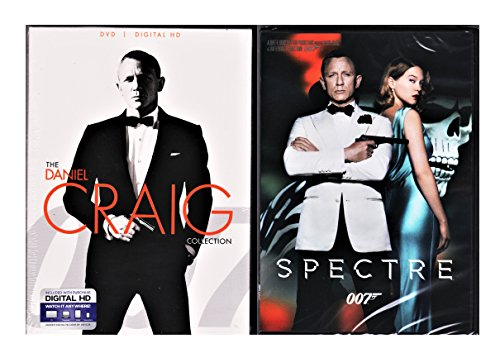 Spectre, Skyfall, Casino Royale DVD & Quantum of Solace James Bond Set Pack 007 Daniel Craig Collection 007 Set by MGM