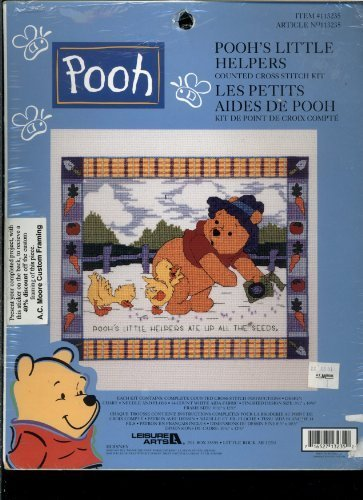 - Leisure Arts Counted Cross Stitch Kit - Walt Disneys Winnie the Pooh - Poohs Little Helper - Features Pooh Planting Seeds in a Garden While Chicks Follow Behind Him Eating the Seeds 113235