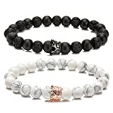 LYLYMIMI Couples Bracelet for Men Women Bead Bracelet with Crown Charms Matte Lava Rock Stone