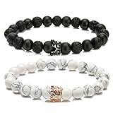 LYLYMIMI Couples Bracelet for Men Women Bead Bracelet with Crown Charms Matte Lava Rock Stone