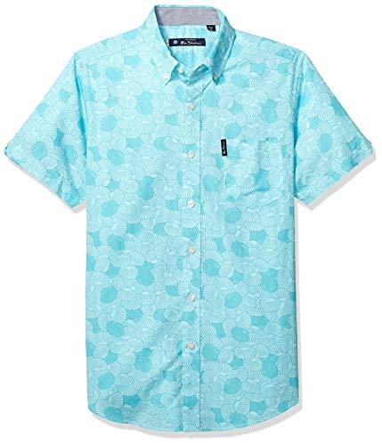 Ben Sherman Men's SS Seashell PRNT Shirt, Green, XXL