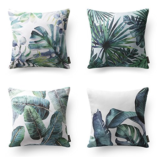 "Phantoscope Set of 4 Tropical Green Leaves Throw Pillow Case Cushion Cover 18"" x 18"" 45cm x 45cm (Rustic Dresser Green)"