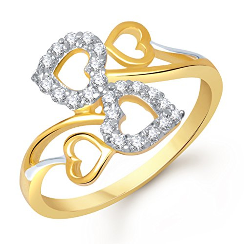 Vina Fashion Jwellery Twin Heart Gold and Rhodium Plated Ring for Women & Girls- FR1269GA [VKFR1269GA]