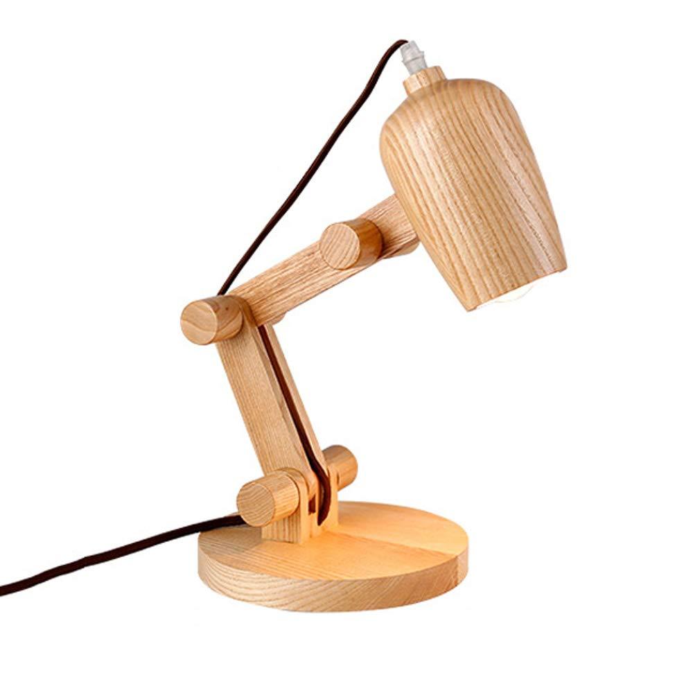 Einstellbare Tischlampe LED Studentenlesung Schreibtischlampe Kreative Holz Nachttischlampe Nordic Wohnzimmer Schlafzimmer Dekoration Tischlampe