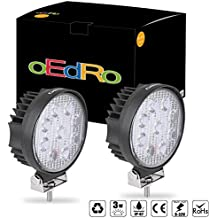 oEdRo 2pcs 12volt led work lights 27W Flood Round Offroad Fog Driving Light Car Boat Bus led lights work lights SUV Jeep ATV UTE 4X4 4WD 3 years Warranty