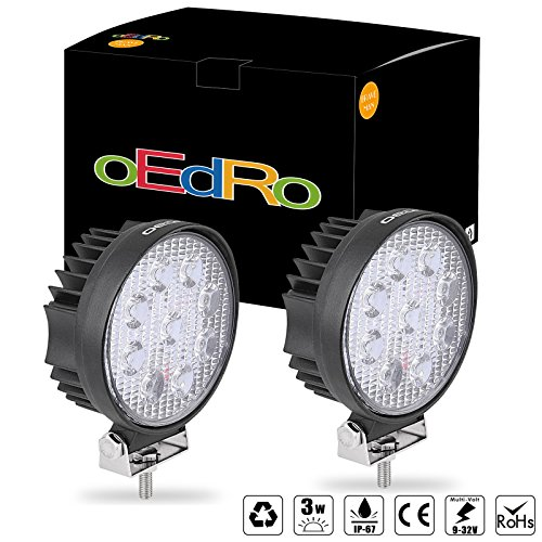 oEdRo 2pcs 12volt led work lights 27W Flood Round Offroad Fog Driving Light Car Boat Bus led lights work lights SUV Jeep ATV UTE 4X4 4WD 3 years Warranty (Fog Car)