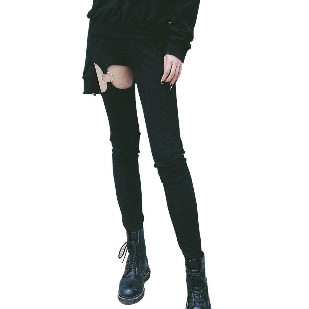 SuperCimi Punk Gothic Frauen Hosen Leggings Aushöhlen Fünfzackigen Stern Pentagramm Frauen Zeichnen Hosen