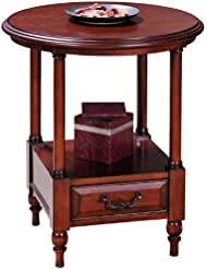 Leick Furniture Claridge Collection Cherry Round Side Table Burnished Russet