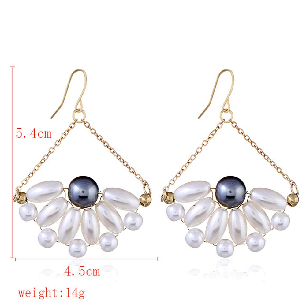 Simple and Elegant Pearl Dangle Earrings Cluster Bridal Drop Dangle Earring for Brides or Bridesmaids
