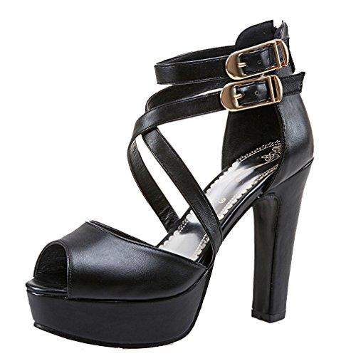 YE Damen Knöchelriemchen Peep High Heel Sandalen mit Schnalle und Blockabsatz Elegant Pumps Schuhe Schwarz