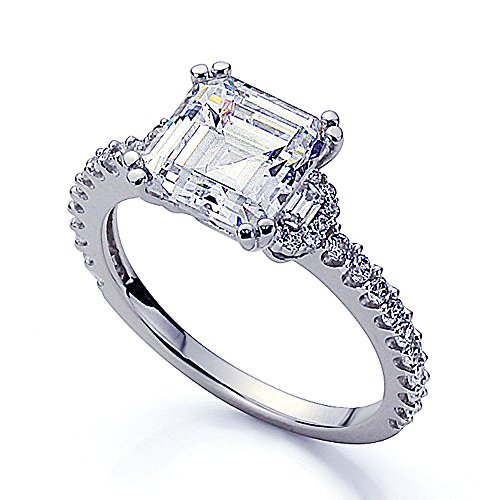 Platinum Plated Sterling Silver 1.5ct Asscher CZ Baguette Accent Wedding Engagement Ring ( Size 5 to 9 ), 8