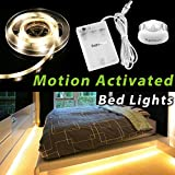 Motion Activated Bed Light, Supmoon Battery/ USB Powered LED Strip Motion Sensor Night Light Bedside Lamp with Automatic Off 3000K( Warm White)