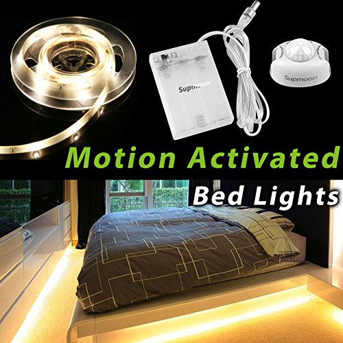 Motion Activated Bed Light, Supmoon Battery/ USB Powered LED Strip Motion Sensor Night Light Bedside Lamp with Automatic Off 3000K( Warm White) by Supmoon