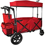 RED PUSH HANDLE AND REAR FOOT BRAKE FOLDING STROLLER WAGON OUTDOOR SPORT COLLAPSIBLE BABY TROLLEY W/ CANOPY GARDEN UTILITY SHOPPING TRAVEL CART - EASY SETUP NO TOOL NECESSARY by WagonBuddy