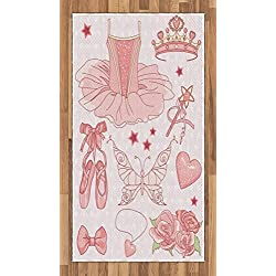 Lunarable Princess Area Rug, Fantastic Princess Ballerina Accessories Classic Costume Shoes Tiara Roses, Flat Woven Accent Rug for Living Room Bedroom Dining Room, 2.6 x 5 FT, Rose Pale Pink