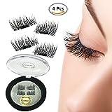 False Magnetic Eyelashes, Magnetic False Eye Lashes Magnet Eyelashes, 1 pair (4 piece) Ultra-thin 0.2mm Magnetic false eyelashes 3D Natural Reusable False Magnet Eyelashes Extension