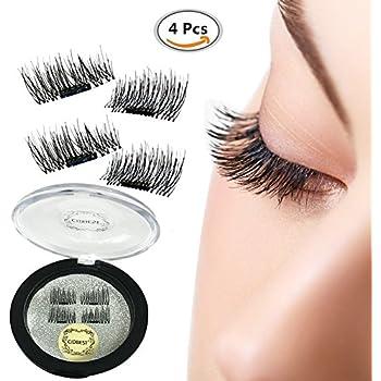 c40a3332ddf False Magnetic Eyelashes, Magnetic False Eye Lashes Magnet Eyelashes, 1 pair  (4 piece) Ultra-thin 0.2mm Magnetic false eyelashes 3D Natural Reusable  False ...