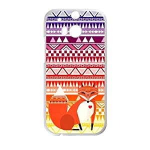 Hoomin Colorful Retro Aztec Tribal Fox Pattern HTC One M8 Cell Phone Cases Cover Popular Gifts(Laster Technology)