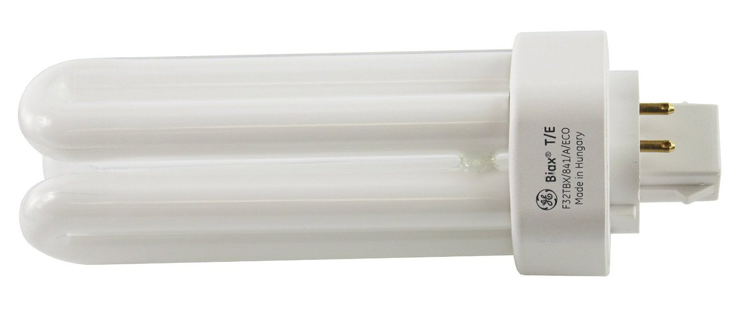 GE 97632 (12-Pack) F32TBX/841/A/ECO 32-Watt Energy Smart Ecolux Triple Tube Compact Fluorescent Light Bulb, 4100K, 2400 Lumens, 82 CRI, T4 Shape, 4-Pin GX23q-3 Base