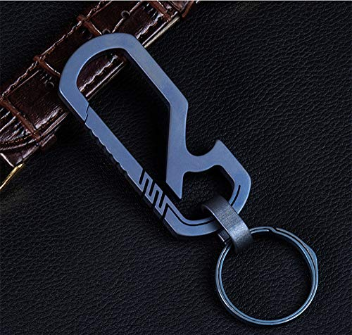 KUNSON Ultralight Aviation Titanium Anti-Lost Carabiner Keychain Multitool Bottle Opener Design Creative Gift Quick Release Key Chain 26mm Titanium Key Ring ()