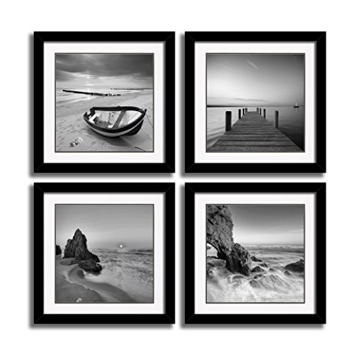 HLJ ART 4 Panels Black Frames Giclee Seascape Canvas Prints Art Photos Printed Sunrise Paintings Beach Sunset Seaview Artwork Poster Sea Pictures White Matte Wall Decor