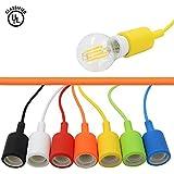 CTKcom E27 Socket Pendant Light Bulbs- Socket Light Fixture Silicon Pendant Hanging Lamp Holder With Textile Insulating Lamp Cord 3.3ft Lamp Holder for Home Commercial Pub Decorative Lighting,6 Color
